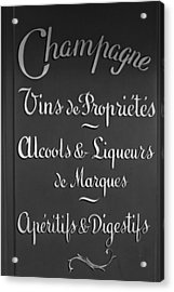 French Bar Sign In Mono Acrylic Print