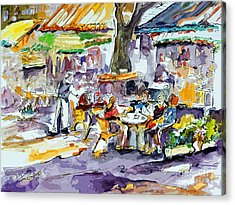 French Bistro Street Scene Acrylic Print by Ginette Callaway