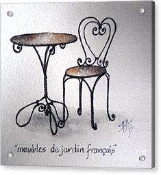 French Chair And Table Acrylic Print