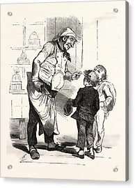 French Cook Talking With Two Children, Europe Acrylic Print by French School