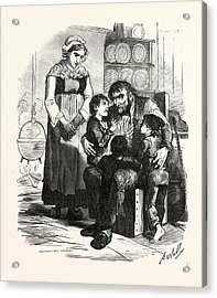 French Family In The Kitchen, France. Interior, Kitchen Acrylic Print by French School