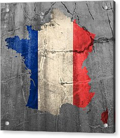 French France Flag Country Outline Painted On Old Cracked Cement Acrylic Print