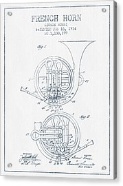 French Horn Patent From 1914 - Blue Ink Acrylic Print by Aged Pixel