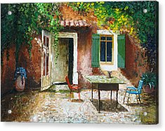 French Patio, 2006 Oil On Board Acrylic Print by Trevor Neal