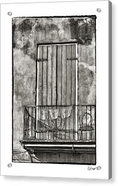French Quarter Balcony In Black And White Acrylic Print by Brenda Bryant