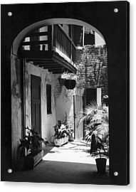 French Quarter Courtyard Acrylic Print by Underwood Archives