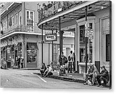 French Quarter - Hangin' Out Bw Acrylic Print by Steve Harrington