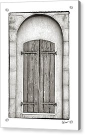 French Quarter Shutters In Black And White Acrylic Print by Brenda Bryant