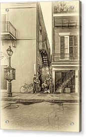 French Quarter Trio - Paint Sepia Acrylic Print by Steve Harrington