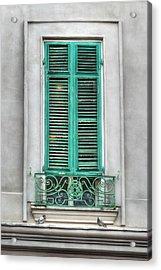 French Quarter Window In Green Acrylic Print by Brenda Bryant