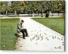 Frenchman Feeding The Sparrows Acrylic Print by Chuck Staley