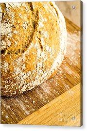 Fresh Baked Loaf Of Artisan Bread Acrylic Print by Edward Fielding