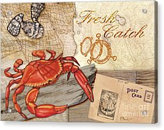 Fresh Catch Red Crab Acrylic Print by Paul Brent