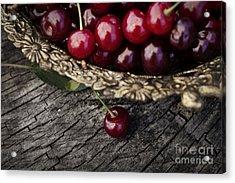 Fresh Cherry Acrylic Print by Mythja  Photography