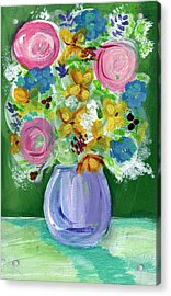 Fresh Flowers- Painting Acrylic Print by Linda Woods