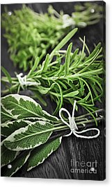 Fresh Herbs In Bunches Acrylic Print by Elena Elisseeva