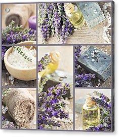 Fresh Lavender Collage Acrylic Print by Mythja  Photography