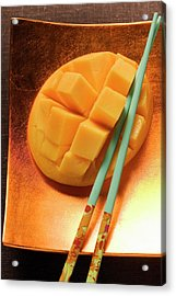 Fresh Mango, Cut Into Cubes, With Chopsticks Acrylic Print