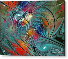 Fresh Mints And Cool Blues-abstract Fractal Art Acrylic Print
