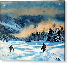 Fresh Powder Acrylic Print by W  Scott Fenton
