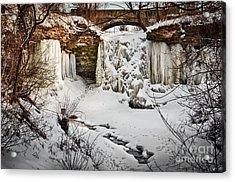 Fresh Snowfall At Wequiock Falls Acrylic Print by Mark David Zahn