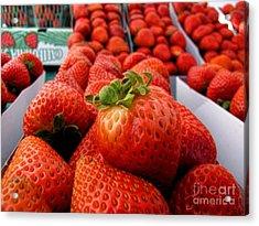 Fresh Strawberries Acrylic Print by Peggy Hughes