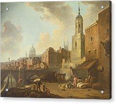 Fresh Wharf Near London Bridge, C.1762 Oil On Canvas Acrylic Print by William Marlow