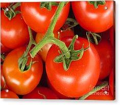 Fresh Whole Tomatos On Vine Acrylic Print by David Millenheft