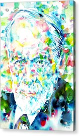 Sigmund Freud - Watercolor Portrait.1 Acrylic Print