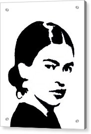 Acrylic Print featuring the mixed media Frida Black And White by Michelle Dallocchio
