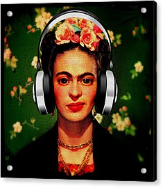 Acrylic Print featuring the mixed media Frida Jams by Michelle Dallocchio