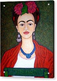 Frida Kahko Portrait With Dahlias Acrylic Print