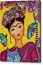Acrylic Print featuring the painting Frida Kahlo And Her Cat by Pristine Cartera Turkus