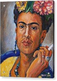 Frida Kahlo Acrylic Print by Becky Kim