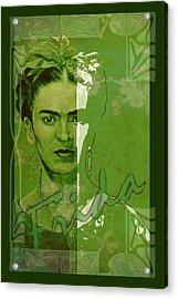 Frida Kahlo - Between Worlds - Green Acrylic Print by Richard Tito