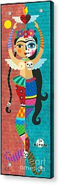 Frida Kahlo Mermaid Angel With Flaming Heart Acrylic Print by LuLu Mypinkturtle