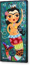 Frida Kahlo Mermaid Queen Acrylic Print by LuLu Mypinkturtle