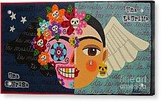 Frida Kahlo Sugar Skull Angel Acrylic Print by LuLu Mypinkturtle