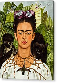 Frida Kahlo - Thorn Necklace And Hummingbird Acrylic Print by Roberto Prusso