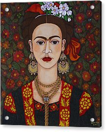 Frida Kahlo With Butterflies Acrylic Print