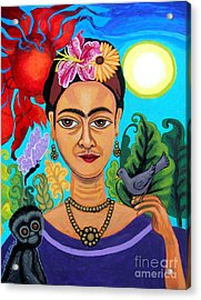 Frida Kahlo With Monkey And Bird Acrylic Print