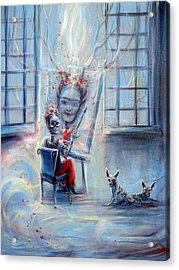 Frida La Artista Acrylic Print by Heather Calderon