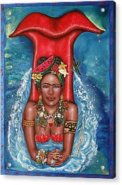 Frida Makes A Splash Acrylic Print by Ilene Satala