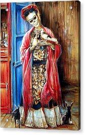 Frida With Doves Acrylic Print