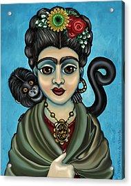 Frida's Monkey Acrylic Print by Victoria De Almeida