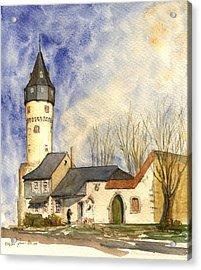 Friedberger Warte Frankfurt Acrylic Print by Juan  Bosco