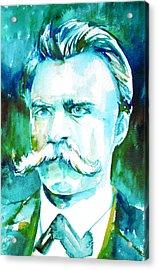 Friedrich Nietzsche Watercolor Portrait.1 Acrylic Print by Fabrizio Cassetta