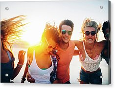 Friends Dancing On Beach In Sunset Acrylic Print by Wundervisuals