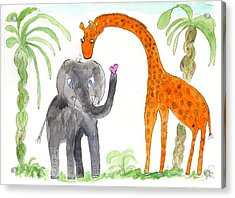 Friends - Elephoot And Elliot Acrylic Print by Helen Holden-Gladsky
