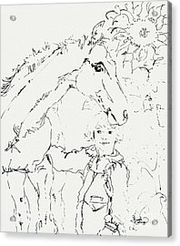Friends For Life Ink Drawing Acrylic Print by Ginette Callaway